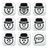 Man in hat faces vector buttons set