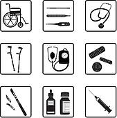Medical tools and icons