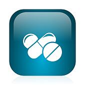 medicine blue glossy internet icon