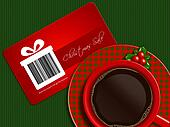 cup of coffee with christmas sale coupon on tablecloth