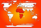 Sliced world map white continents with red warm Africa