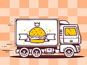 illustration of truck free and fast delivering burger wit