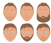 set of man faces with different hairstyle and beard brown