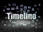 Time concept: Timeline in grunge dark room
