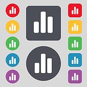 Growth and development concept. graph of Rate icon sign. A set of 12 colored buttons. Flat design.