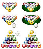 illustration of a glossy set of pool balls in proper perspective with a white cue ball. 3d rendered