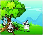 Playful lemurs playing near the big tree