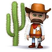 3d Cowboy sheriff stood too close to the cactus