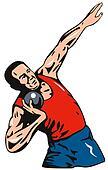 Athlete putting the shot