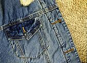 Denim Jacket Pocket Detail with Sheep Skin Texture