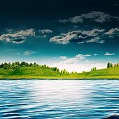 River side. Abstract summer landscape for your design