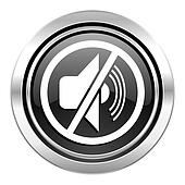 mute icon, black chrome button, silence sign
