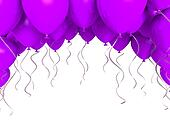Purple party ballons on white background
