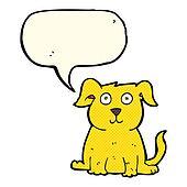 cartoon happy dog with speech bubble