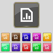 Growth and development concept. graph of Rate icon sign. Set with eleven colored buttons for your site.