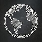Science concept: Globe on chalkboard background