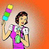 Cleaning woman concept, comics style