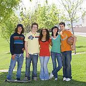 Teens hang out at park