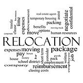 Relocation Word Cloud Concept in black and white