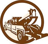 Tow Truck Wrecker Rear Retro