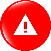 glossy web button with attention warning sign. Rounded square shape icon with shadow and reflection on white background