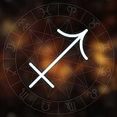 Zodiac sign - Sagittarius. White thin simple line