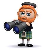 3d Scotsman uses his binoculars
