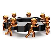 Teamwork community black gearwheel business partnership