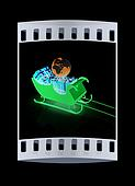 Christmas Santa sledge with gifts. The film strip