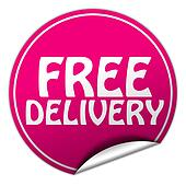 FREE DELIVERY round pink sticker on white background