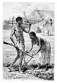 Man and Woman from Bie in Angola, Southern Africa, vintage engraving