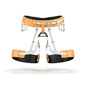Climbing and mountainneering harness isolated on white backgroun