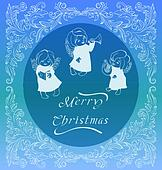 Rich ornate Christmas background with singing angels.
