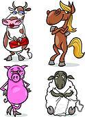 farm animals cartoon humor set