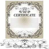 Certificate design with calligraphic elements in vintage style