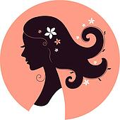 Beautiful spring girl silhouette in circle