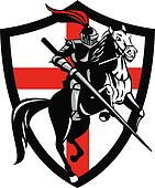 English Knight Ridiing Horse England Flag Retro