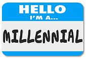 Hello I'm a Millennial Words Name Tag Sticker
