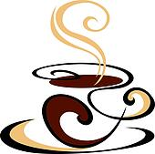 Swirling cup of steaming coffee