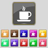 coffee icon sign. Set with eleven colored buttons for your site.