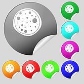 Pizza Icon. Set of eight multi colored round buttons, stickers.