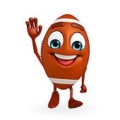 Rubgy ball character with hello pose