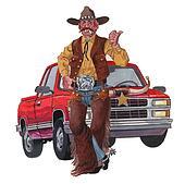 Redneck Cowboy and pickup