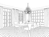 Sketch of classic dining area with
