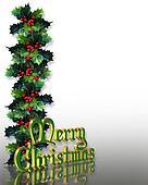 Christmas Holly Border 3D