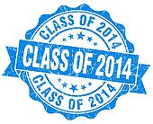 class of 2014 blue vintage isolated seal