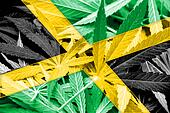 Jamaica Flag on cannabis background. Drug policy. Legalization of marijuana
