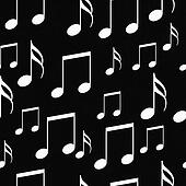 Black and White Music Notes Tile Pattern Repeat Background