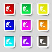 repair of road, construction work icon sign. Set of multicolored modern labels for your design.