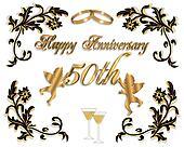 50th Wedding rings card
